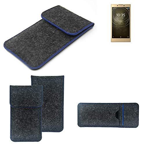 K-S-Trade Filz Schutz Hülle Für Sony Xperia L2 Dual-SIM Schutzhülle Filztasche Pouch Tasche Hülle Sleeve Handyhülle Filzhülle Dunkelgrau, Blauer Rand