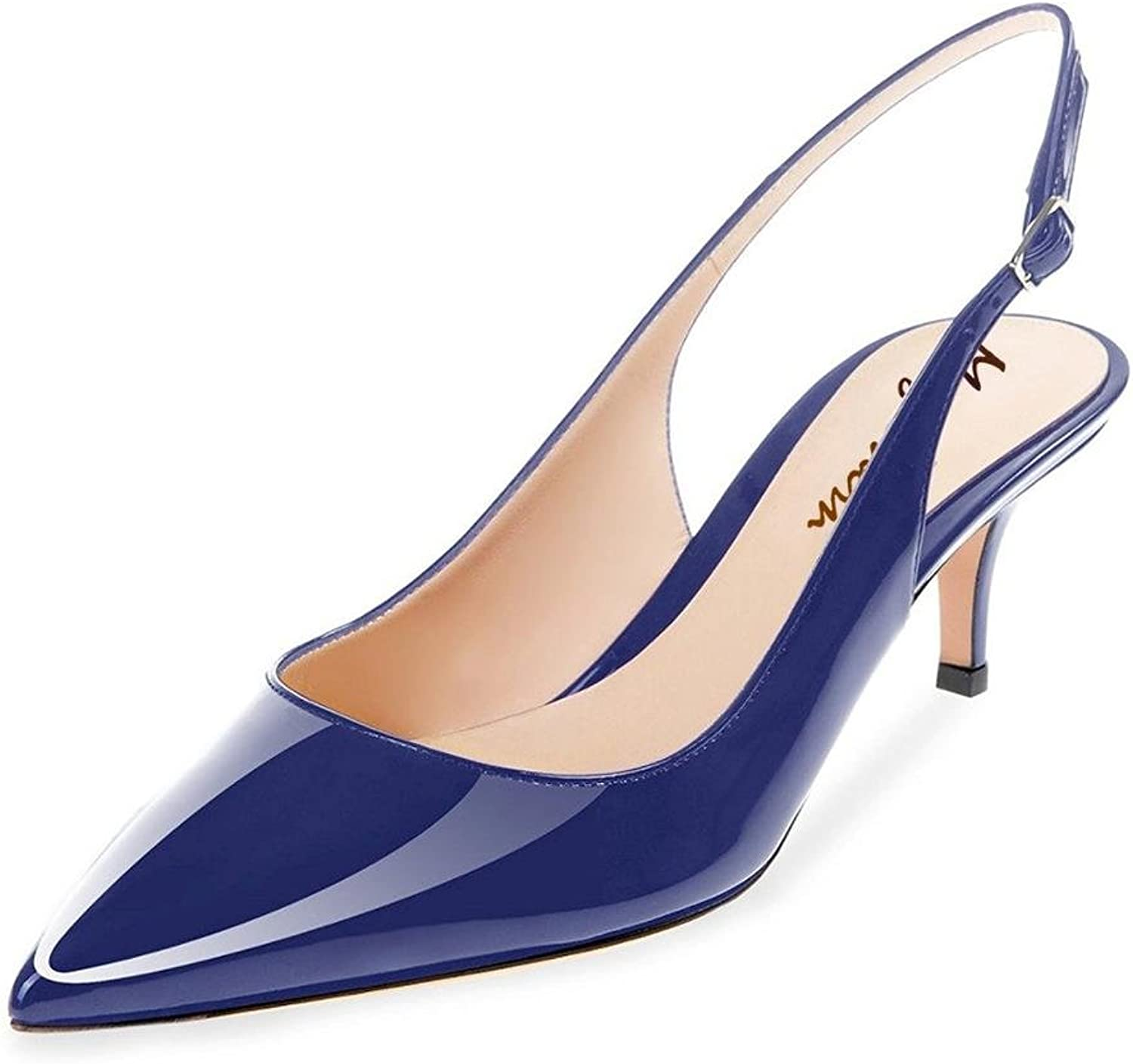 Maguidern Kitten Heel Sandals Patent Leather Pointed Toe Slingback Ankle Metal Buckle Strap Low Heel shoes Plus Size