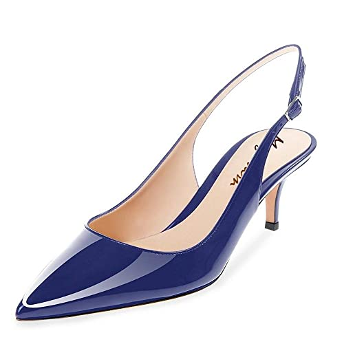 f5b59143546 Blue Leather Slingback Pumps  Amazon.com
