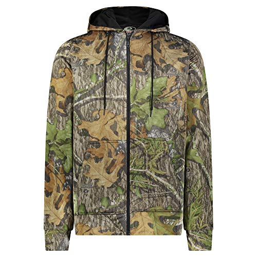 Mossy Oak Men's Performance Tech Full Zip-Up Long Sleeve Camouflage Hoodie (Obsession, Medium)