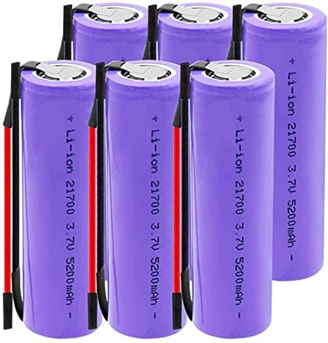 3.7V 5200Mah 21700 Batería De Iones De Litio Recargable Adecuada para Linterna Frontal Cámara Digital 6 Uds