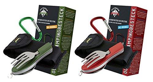 OUTDOOR FREAKZ Outdoor Campingbesteck Klapp-Besteck aus Edelstahl mit Gürteltasche, das Original! (2pack: rot und grün)
