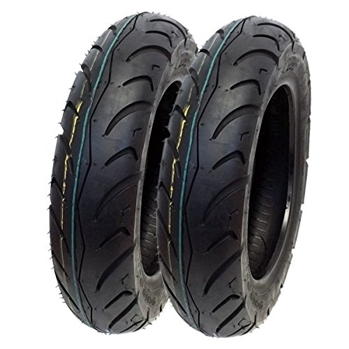 MMG Set of 2 Street Scooter Tire 90/90-10 (3.00-10) Tubeless Front/Rear fits on Delim Cordi 50 (06-09), Message 50, Tapo 50 and other 50cc Scooters