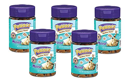 Pounce 5 Pack of Moist Cat Treats, 3 Ounces Each, Chicken Flavor