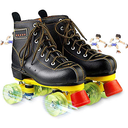 Patines clásicos de doble fila de piel sintética de alta calidad, patines de cuatro ruedas para niñas y mujeres en interiores y exteriores, 44