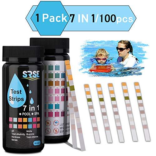 Beager Trinkwasser Teststreifen, 7 in 1 Teststreifen SPA Whirlpools für pH, Brom, Nitrit, Nitrat, Gesamtchlor, Gesamtalkalinität, Cyanursäure, Gesamthärte Wasserchemietester 100 Stück