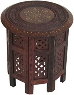 Carved Wooden Octagonal Table Brass Inlay - Nautical Decor