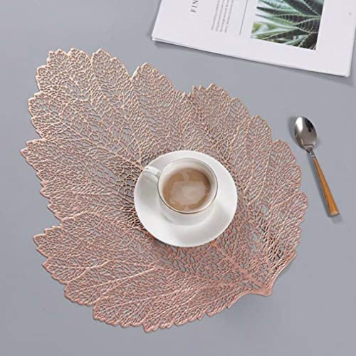 H-HX Decoratieve Lamp 2 PCS Leaf PVC Hittebestendige Placemat drank glas Coaster, Maat: 37x47cm (Gold) (Color : Rose Gold)