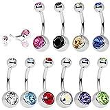 UWILD 10 piercings para el ombligo de titanio, acero inoxidable, caja de regalo, piercing para el ombligo, cristal brillante, joya con forma de arco y diamante