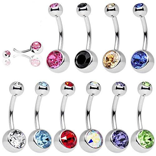UWILD 10 Stück Nabelpiercing Titan Edelstahl Geschenkbox Bauchnabelpiercing Bauchnabel Piercing Kristall Glas Glänzende Schmuck Bogen-Diamant-Nabel-Ring-Bauch