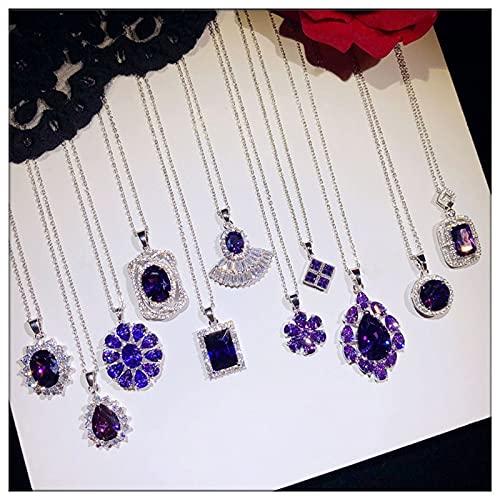 DAJIA Collares Vintage Colgantes para Mujer Plata de Ley Noble Violeta púrpura Zirconia cúbica Colgante Cadena de clavícula joyería Fina