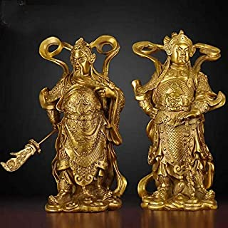 風水菩薩像 ペア24cm大きい - ホームトップ効率的なタリスマン護岸神Guan Gong Sangharama Skanda Bodhisattva Feng Shui Brass Stuk 阮ゴングスタチュー (Size : 24CM TALL)