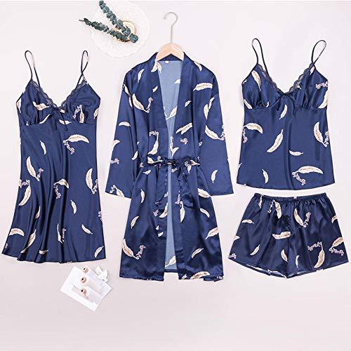 ASADVE Pijamas de Verano para Mujer, Pantalones Cortos de Tirantes de Gran tamaño de Cuatro Piezas, Traje de Servicio a Domicilio-Fucsia_1XL