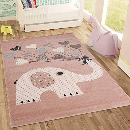 Fashion4Home | Kinderteppiche Elefant mit Herzen Ballons | Kinderteppich für Mädchen und Jungs | Teppich für Kinderzimmer | Schadstofffrei,160x230 cm, Rosa