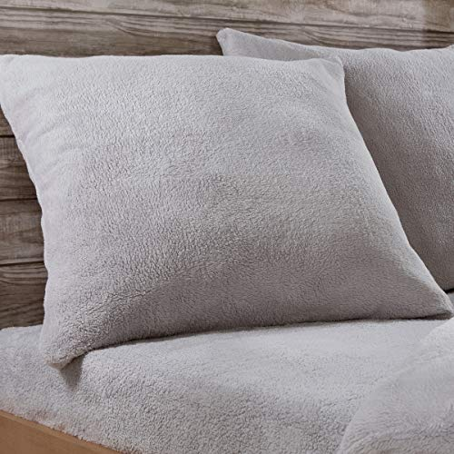 Sleepdown Teddy-Fleece-Kissenbezüge, einfarbig, warm, kuschelig, superweich, 80 cm x 80 cm, grau, Pillowcases Pair 80cm x 80cm