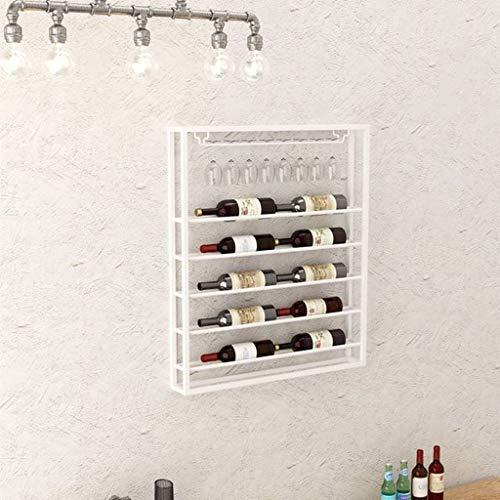 LXYPLM-WR1 Wine Rack Wine Organizer Rack Wall Mounted Wine Rack Metal Storage Holder Wine Glass Rack for Bars Restaurants Kitchens (Color : White, Size : 75 * 10 * 90cm)