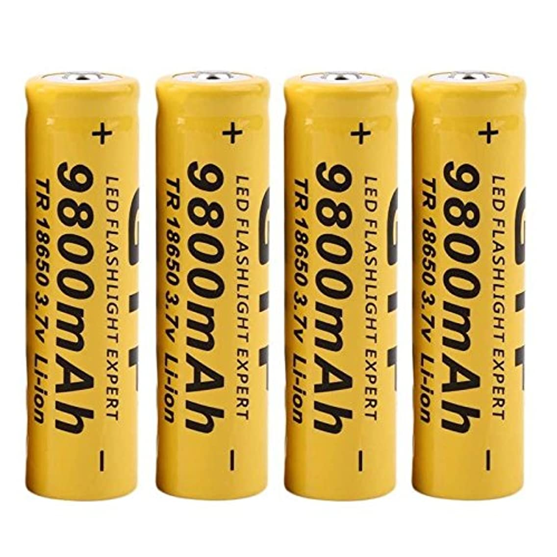 GUTTEAR 4Pcs 3.7V 18650 9800mah Li-ion Rechargeable Battery for LED Flashlight Torch