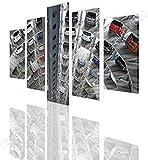 Yuanjun Cuadros Modulares De Las Ilustraciones De La Pared De La Pintura De La Lona Para La Sala De Estar 5 Panel/Set Impreso En La Pared 150X80Cm Estacionamiento De Almacén De Automóviles