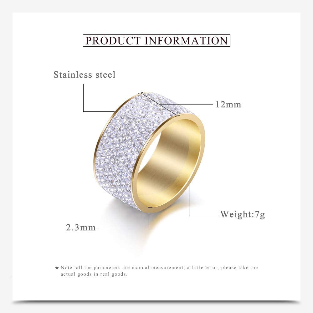 caipingbaihuodian Women Stainless Steel 8 Row White CZ Cubic Zirconia Wide Band Promise Statement Cocktail Silver Ring