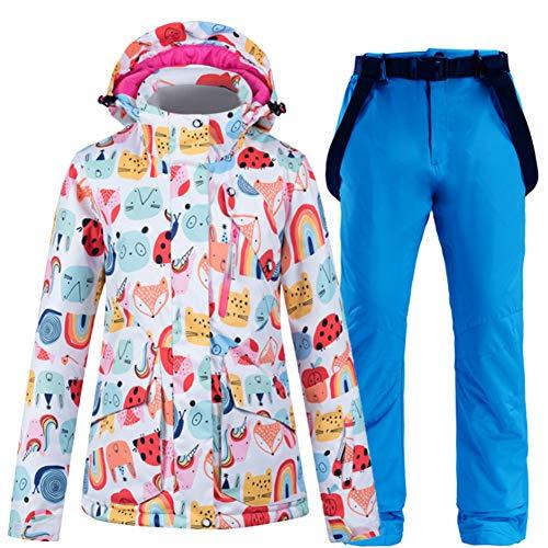 LFTYV Skianzug Set wasserdichte Damen-Skijacken-Hosen-Set Für Frauen Wasserdichtes Mountain Snow-Snowboard-Anzug-Set,C,S