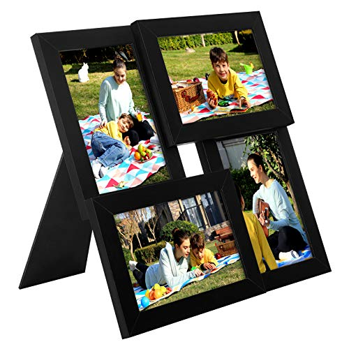SONGMICS Cadre Photo, Pêle-mêle Capacité 4 Photos, Taille Photo 10 x 15 cm, Gallerie Photo, Vitre en Verre, Noir RPF25BK
