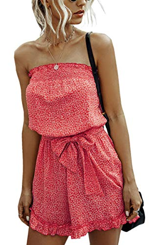 Angashion Women's Rompers-Casual Summer Off Shoulder Strapless Floral Print Ruffle Belt Shorts Jumpsuit Red L