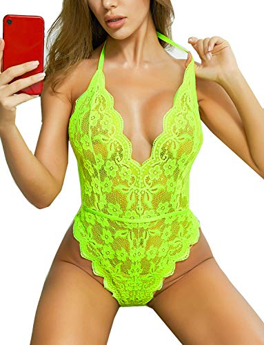Spitze Bodysuit für Frauen Sexy Wimpern Teddy Valentinstag Dessous Naughty Negligee Bodysuit - Gelb - XX-Large