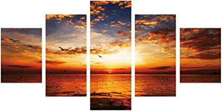 Wall Painting 5 Pieces on Canvas Inkjet Mural Decorative Painting Wall Art Painting Sunset Collectible Professional Canvas...