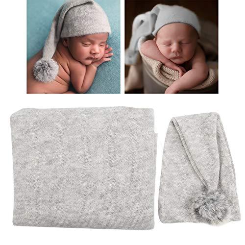 Accesorios para fotos de bebés, juego de dos accesorios para fotografía de bebés, manta exquisitamente hecha para fiestas de baby shower Recién nacidos Regalos de fotografía para bebés(grey)