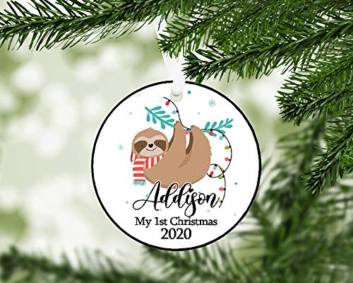 Monsety Personalized Sloth Christmas Ornament - My First Christmas Keepsake Ornament,Christmas Tree Decoration