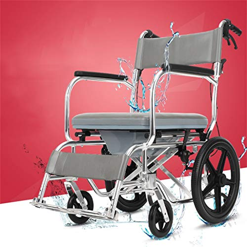 Deluxe Foldable Commodes Toilet with High Capacity Commode Bucket- Travel Wheelchair Disabled Shower Chair- The Best Gift to Parents
