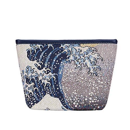 Signare Tapisserie Kunst Taschen, Umhängetasche Frauen, Umhängetasche Frauen, Einkaufstasche, Kosmetiktasche Inspiriert von Hokusai - Die große Welle vor Kanagawa (Makeup Tasche)