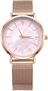 Waterproof Watch Rose Amber Pink Brown Woman Girl Lady Student Simple Diamond Rhinestone Ultra-Thin Quartz Watch Stainless Steel Mesh Belt Fashion Raincoat 3ATM 3ATM (Color : Pink)