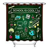 LB Back to School Themed Shower Curtain, Kids Educational Study Science Bathroom Accessories, 59 W x 70 L, Water Repellent Heavy Duty