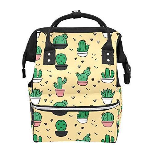 Bolsa de viaje de pañales de dibujos animados cactus Pot multifunción bolsa de viaje mochila funcional escuela bolsa para mujeres hombres