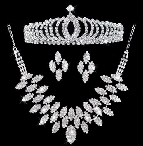 WOFEI Tiara Corona Nupcial 3 Juegos Vestido De Novia De Alta Gama con Diamantes De Imitación Pendientes Collar Fiesta De Cumpleaños Mostrar Accesorios,4