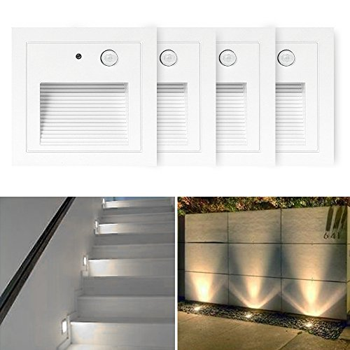 SUBOSI 4er LED Wandeinbaustrahler 3W Wandleuchte Treppen Stufenlicht Lampe Bewegungsmelder Boden Einbauleuchte Treppenleuchte Flurlampe 2800K Warmweiß