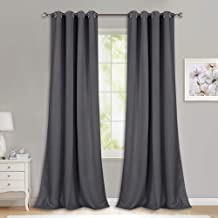NICETOWN Bedroom Blackout Curtains Panels - (52 inches by 108 Inch, Grey, Set of 2) Triple Weave Energy Saving Thermal Insulated Solid Grommet Blackout Draperies for Patio