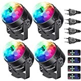 Neewer 4-Pack Mini Luce LED a Stage Luce a Suono del Partito Remoto Controllo RGB 7 Colori Luce Stroboscopica DJ Luce Disco Ball per Festa Natale Casa KTV Bar Club e Matrimonio