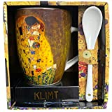 Klimt Mug Le Baiser Cucchiaio Imballo Singolo, Ceramica, Multicolore