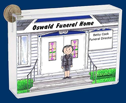 Personalized Friendly Folks Cartoon Caricature Bank: Funeral Director, Funeral Home, Mortician – Female