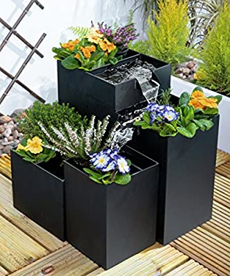 Four Tier Black Metal Planter with Cascade Water Feature OGD155
