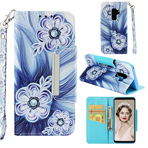 Case for Galaxy S9+/S9 Plus,Slim Durable 3D Printing PU Leather Wallet Case with Magnetic Closure & Wrist Strap Card Holder Inner TPU Bumper Compatible with Samsung Galaxy S9+/S9 Plus -Bead Flower