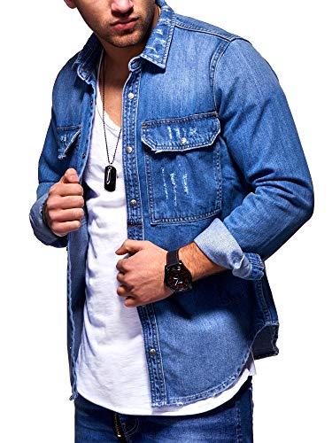 behype. Herren Langarm Destroyed Jeans-Hemd Denim Freizeit-Hemd Shirt 90-8715 Blau (3719) M