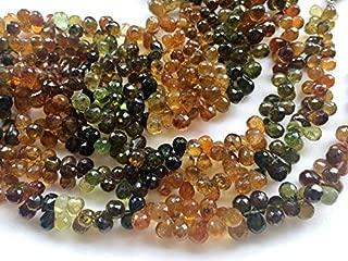 """4"""" strand natural petro tourmaline 4x6 mm-5x7 mm, tear drop faceted beads - petro tourmaline faceted teardrops, tourmaline beads, petro tourmaline necklace, 4x6mm - 5x7mm, 4 inch, 44 pcs - aga52"""