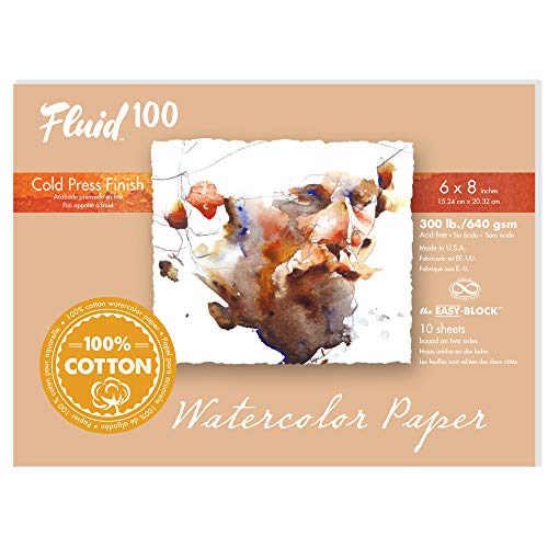 Fluid 100 Watercolor Paper 821208 300LB 100% Cotton Cold Press 6 x 8 Block, 10 Sheets