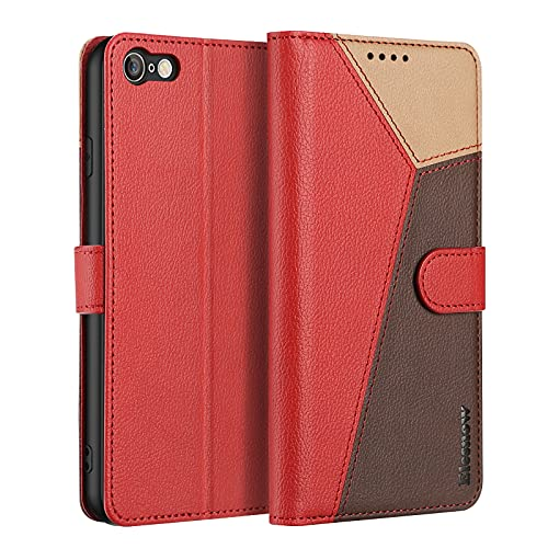 ELESNOW Cover iPhone 7 / iPhone 8 / iPhone SE 2020-4.7', Custodia in Pelle Magnetica Libro Flip Caso Portafoglio per Apple iPhone 7/8 / SE 2020 (Rosso)