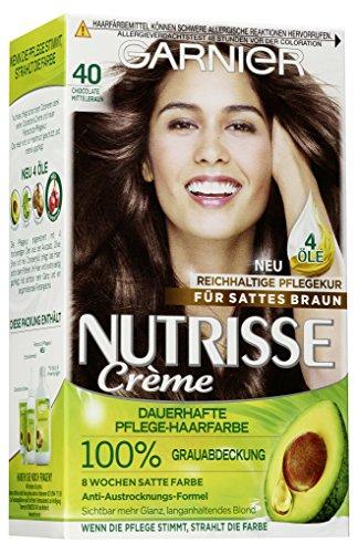 Garnier Nutrisse Creme 40 Mittelbraun, Dauerhafte Haarfarbe mit Olivenöl und Avocadoöl, Haarfarbe braun (3 Stück)
