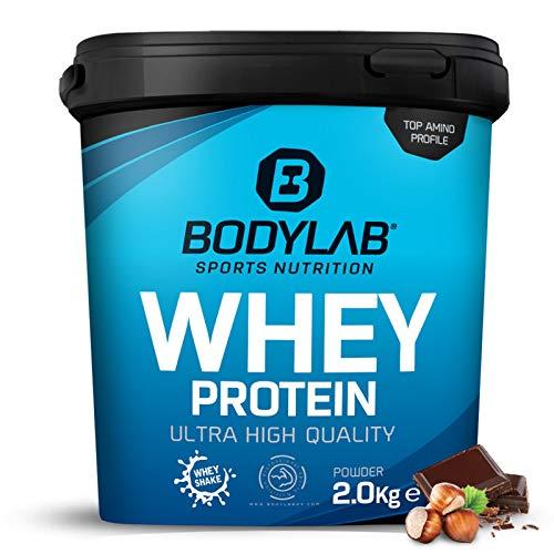 Protein-Pulver Bodylab24 Whey Protein Haselnuss-Schokolade 2kg / Protein-Shake für Kraftsport & Fitness / Whey-Pulver kann den Muskelaufbau unterstützen / Eiweiss-Pulver mit 80% Eiweiß / Aspartamfrei