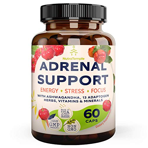 Adrenal Support & Cortisol Manager – Extra Strength Adrenal Fatigue Supplements for Stress Relief & Anxiety, Focus with Ashwagandha, Rhodiola Rosea, L Thyrosine, Holy Basil – 60 Non GMO Pills